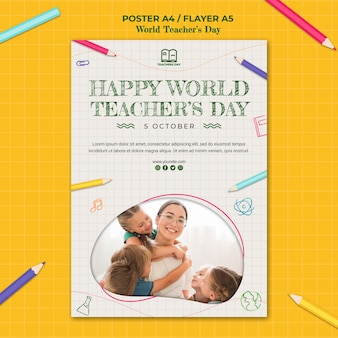 Шаблон плаката ко дню учителя