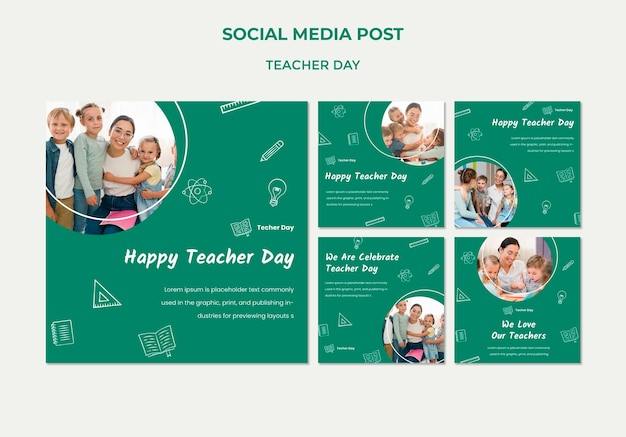 Teacher's day social media post template