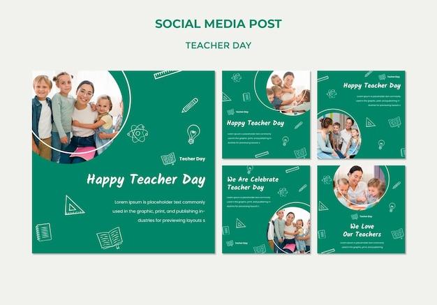教師の日のソーシャルメディアの投稿テンプレート