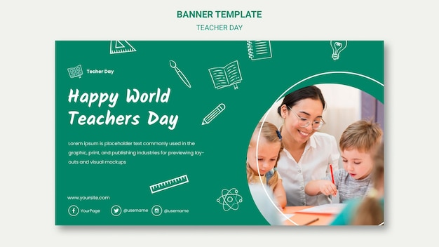 Teacher and students banner template