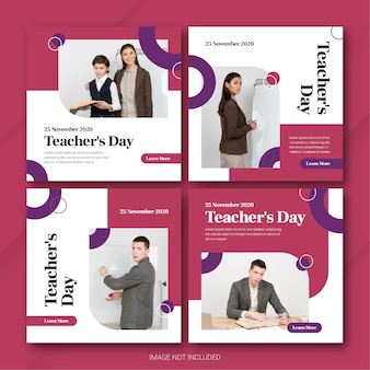 Teachers day instagram post bundle template