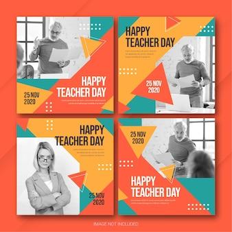Teachers day instagram post bundle template