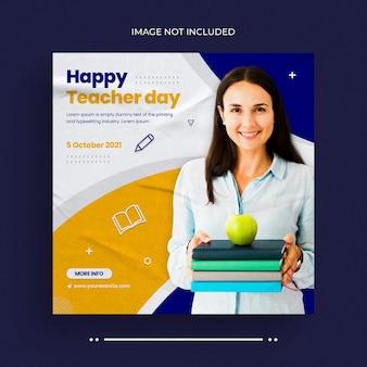 Teachers day social media post web banner and instagram banner post template
