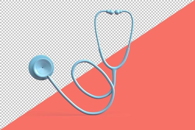 ピンクの背景にティール聴診器。 3dイラスト
