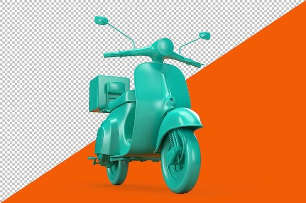 オレンジ色の背景にティールヴィンテージスクーター。 3dイラスト
