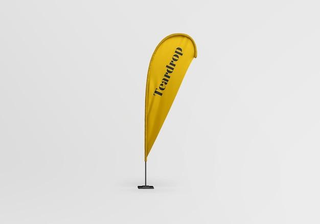 Teardrop flag mockup design isolated