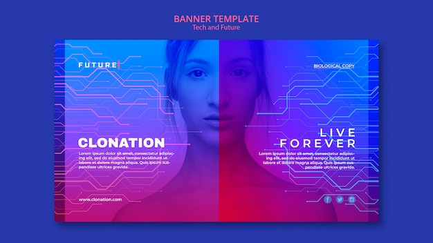 Tech and future concept banner template