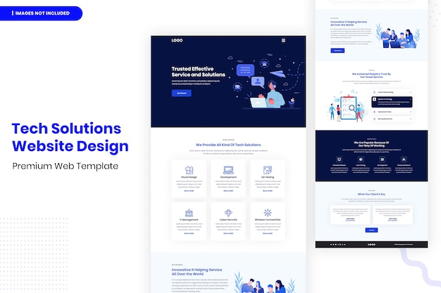Шаблон дизайна веб-сайта tech solutions