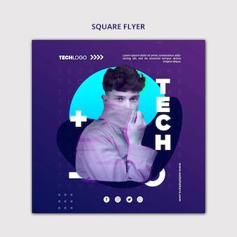 Tech & будущее квадратный макет концепции флаера