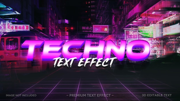 Techno 3d text effect mockup template
