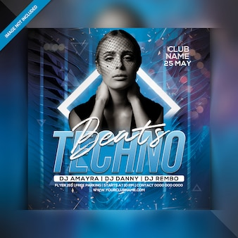 Techno beats party flyer