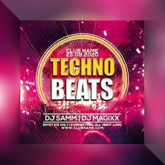 Techno beats party flyer