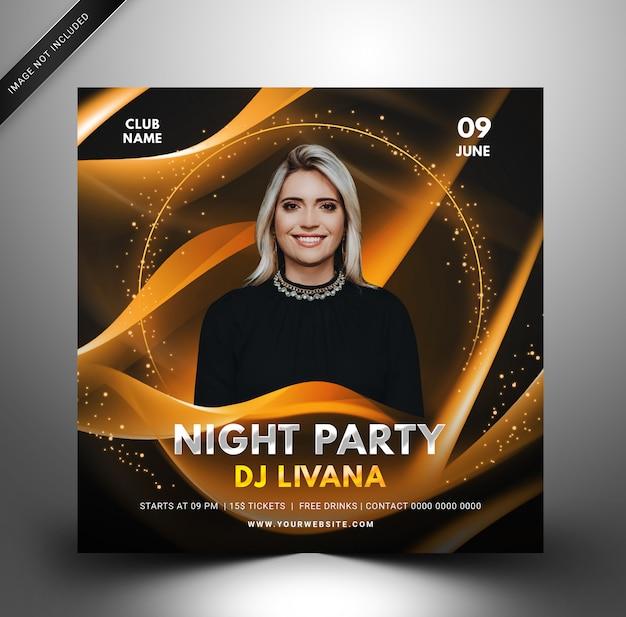 Techno dj шаблон музыкальной вечеринки, квадратный флаер для instagram.