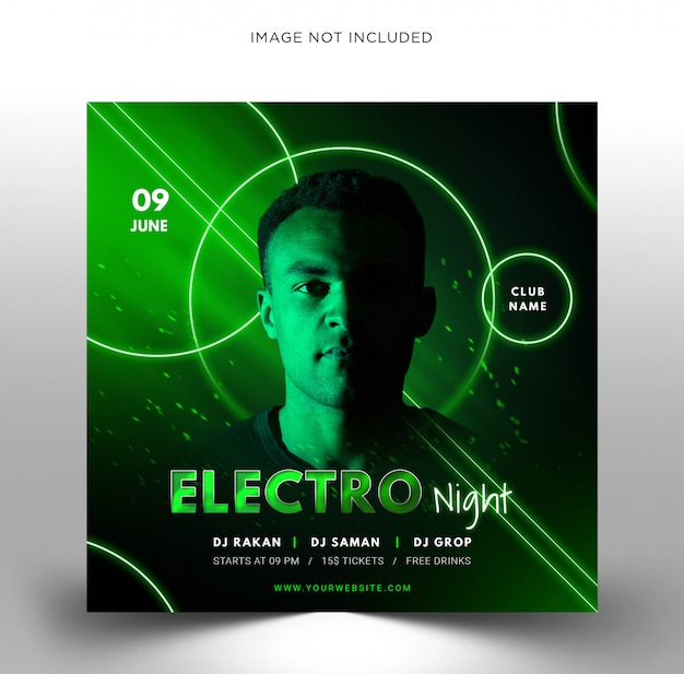 Techno dj music party template, square flyer for instagram.