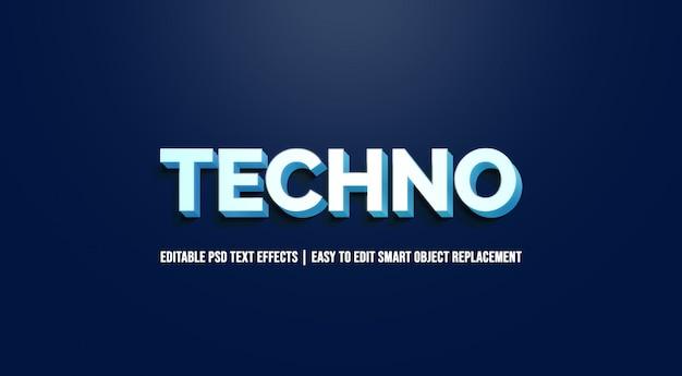 Техно в текстовых эффектах синего градиента