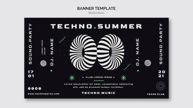 Techno music banner web template