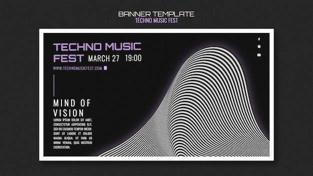 Techno music fest banner