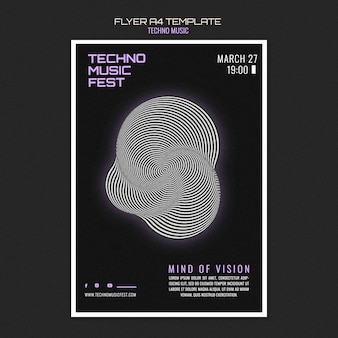 Techno music fest flyer