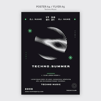 Techno music festival abstractposter template