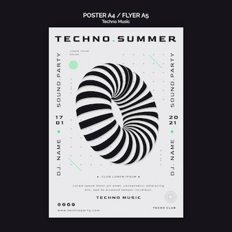 Techno music festival abstract shape poster template