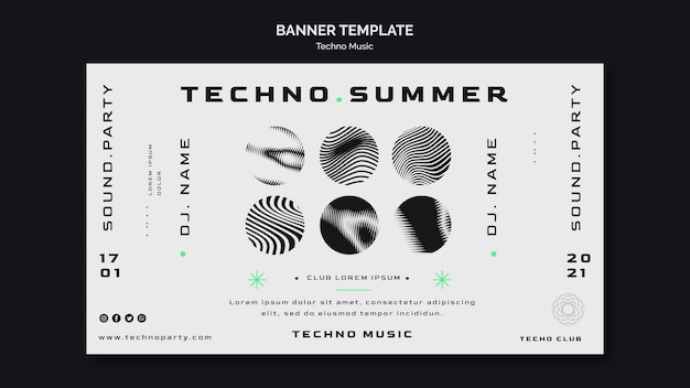 Techno music festival banner template
