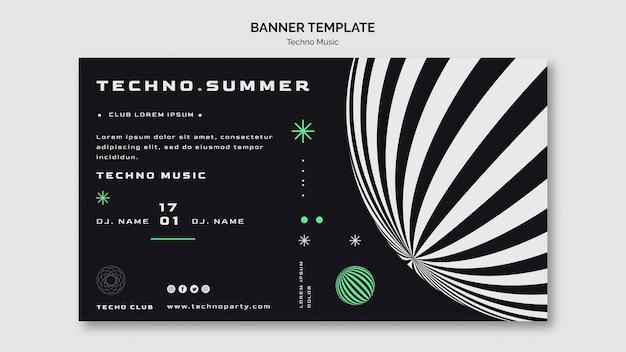 Modello di banner festival di musica techno