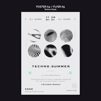 Techno music festival black and white poster template