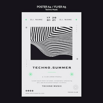 Modello di poster del festival di musica techno