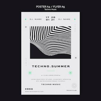 Techno music festival poster template