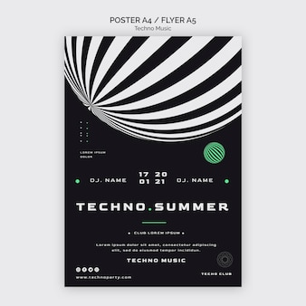 Techno music festival in summer poster template