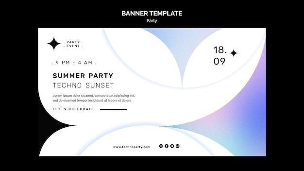 Modello di banner per feste di musica techno