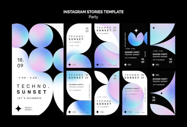 Techno music party instagram stories template