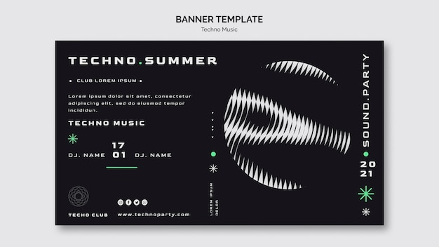 Techno music summer festival banner template