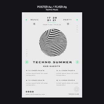 Modello di manifesto del festival estivo di musica techno