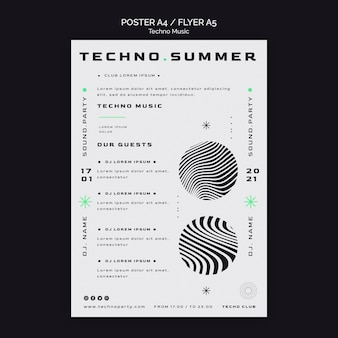 Techno music white background poster template