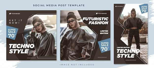 Techno style social media post template