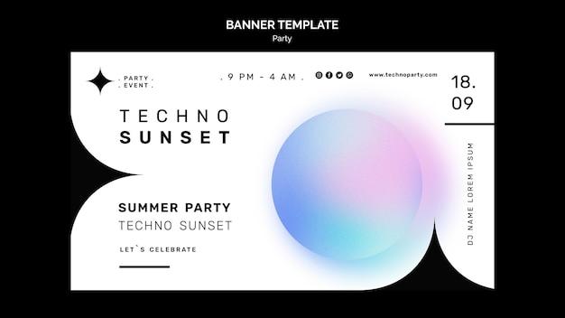 Modello di banner festa estiva techno techno