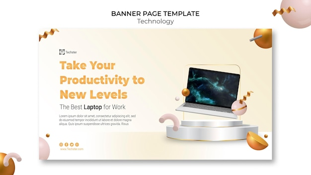 Technology banner template with photo
