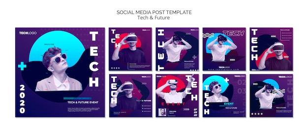 Concetto di tecnologia per post sui social media