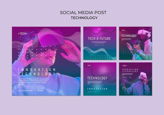 Post di social media del concetto di tecnologia