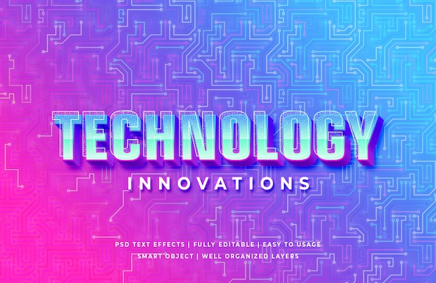 Technology innovation 3d text style effect