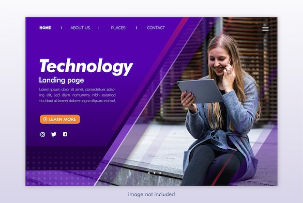 Technology landing page website template