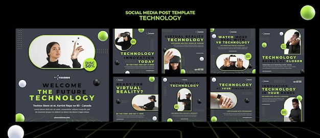 Technology social media post template