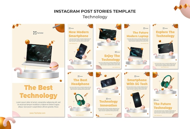 Technology social media stories template with photo
