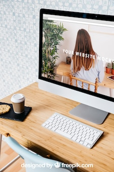 Technology and workspace mockup with desktop pc