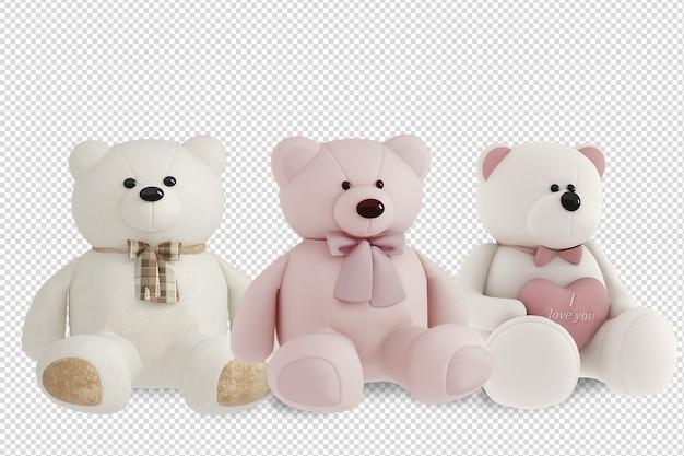 Teddy bears mockup in 3d rendering