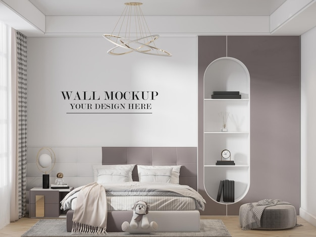 Teen girl bedroom wall mockup