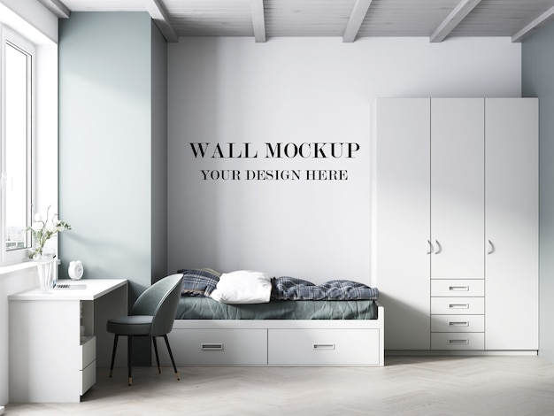Teenager bed room wall mockup 3d render