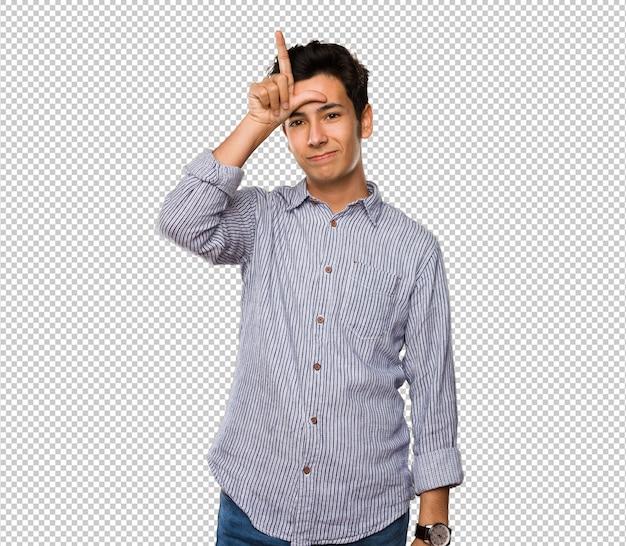 Teenager doing looser gesture