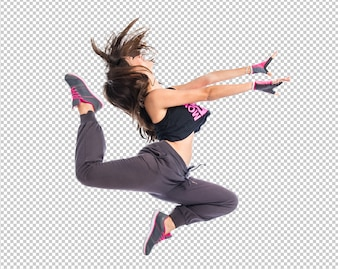Teenager girl jumping in hip hop style